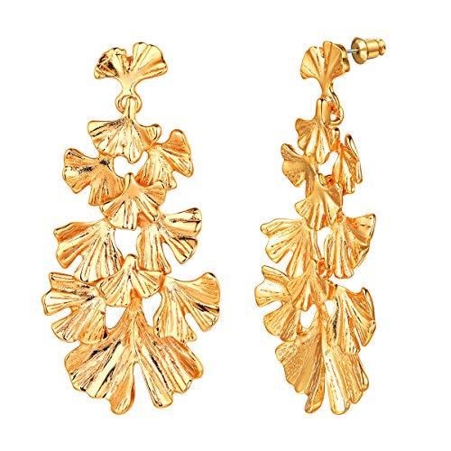 FOCALOOK Groß Statement Ohrringe für Damen Mädchen Elegante Ginkgo Blätter Ohrringe Ohrstecker Gold überzogen Frauen Ohrschmuck Accessoire für Abendkleid Brautjungfernkleid