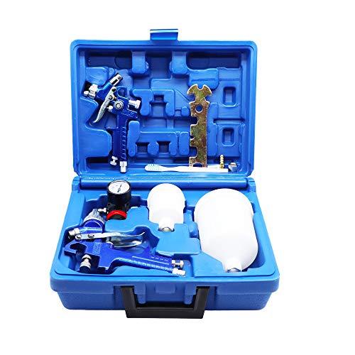 ROIKETU 2 Set HVLP Air Gravity Spray Gun Feed Car Paint Copper Nozzle 0.8mm and 1.4mm Nozzle Pressure Gauge