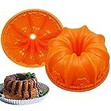 Tortiera Silicone Forma, BKJJ 2 Stampo Torta Forma Fiore Grande, Stampo in Silicone Rosa, Stampo Silicone per Dolci, per Torte, Muffin, Pane, Crostate, Torte Compleanno (Arancione)