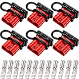 Boao 6 Sets 6-10 Gauge Battery Quick Connector 50A 12-36V Battery Quick Disconnect Wire Harness Plug Kit Battery Quick Connector Disconnect Plug for Motor Winch Trailer (Red)