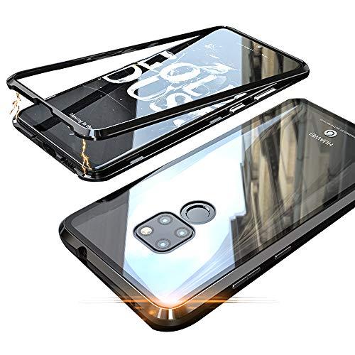 Jonwelsy Huawei Mate 20 Hülle, Stark Magnetische Adsorption Technologie Metallrahmen, Transparent Gehärtetes Glas Rückseite Handyhülle für Huawei Mate 20 (6,53 Zoll) (Schwarz)