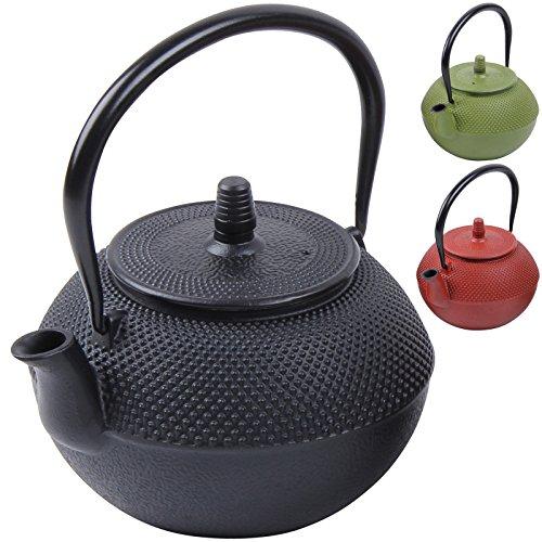 Deuba Teekessel Teekanne Gusseisen 1250 ml Schwarz Asiatische Teekanne Japanischer Stil inkl. Edelstahl Teesieb mit praktischem Henkel