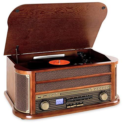 auna Belle Epoque 1908 • Impianto Stereo Retrò • Giradischi • Bluetooth • Radio AM/Fm • Display Banda di Frequenza • USB • Lettore CD e Cassette • Marrone