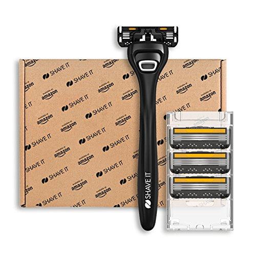 Shave It Value, 3-Klingen-Rasierer mit Griff und 4 Klingenköpfen