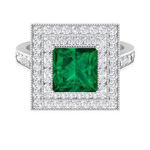 Rosec Jewels - Anillo solitario de turmalina verde de corte princesa de 8 mm con doble halo, anillo de compromiso de oro (calidad AAA), oro blanco de 14 quilates, tamaño: UK P1/2