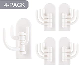 CESUSME 4 Pieces Adhesive Hooks Heavy Duty Hanging Sticky Hooks Seamless Wall Hooks Utility Hooks Wall Mount for Office Kitchen Bathroom Home