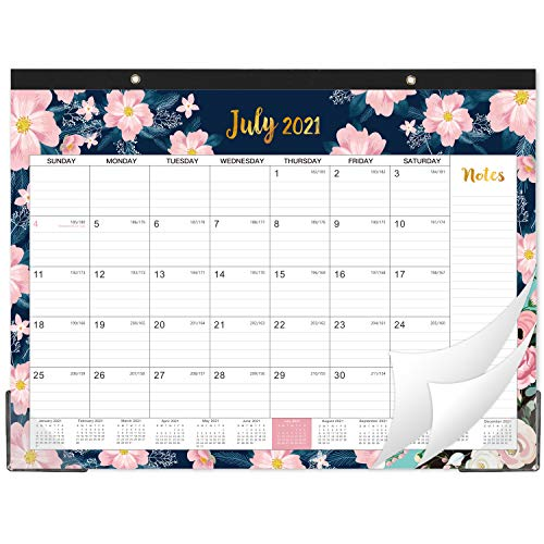 """2021-2022 Desk Calendar - 18 Monthly Desk/Wall Calendar, 22'' x 16.8"""", Monthly Wall Calendar, July 2021 - December 2022, Large Ruled Blocks, Perfect for Planning and Organizing Your Home or Office"""