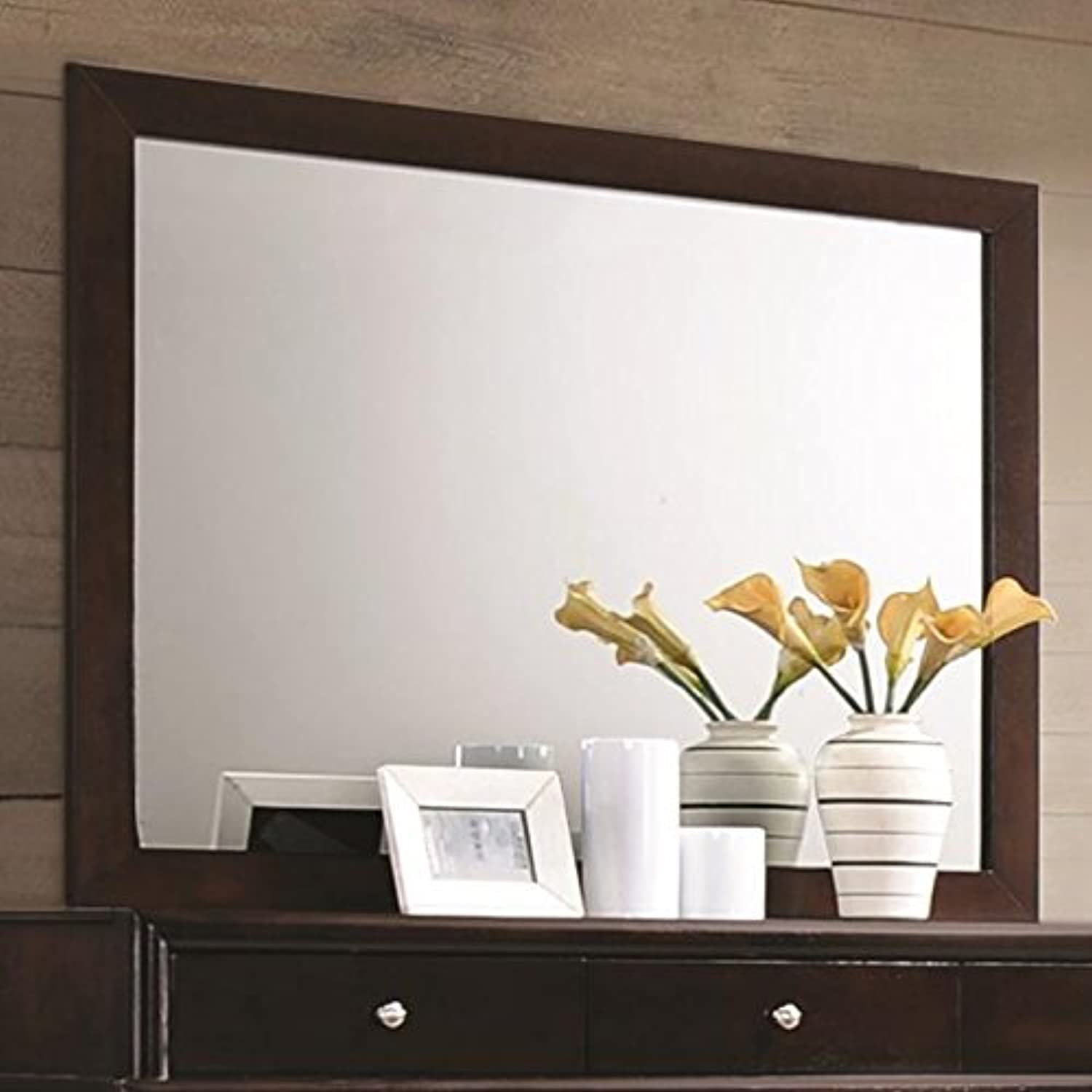 Benzara BM172133 Wooden Framed Stylish Rectangular Mirror, Brown