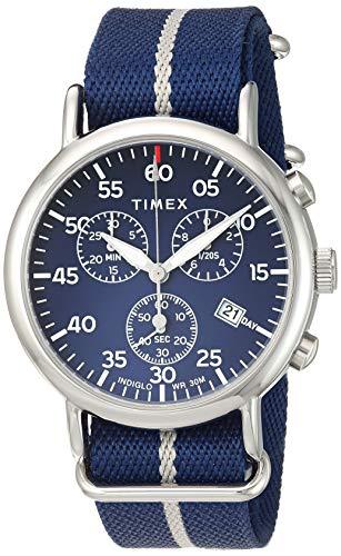Timex Men's TW2T73800 Weekender Chrono Blue/Silver Double-Layered Nylon Fabric Slip-Thru Strap Watch