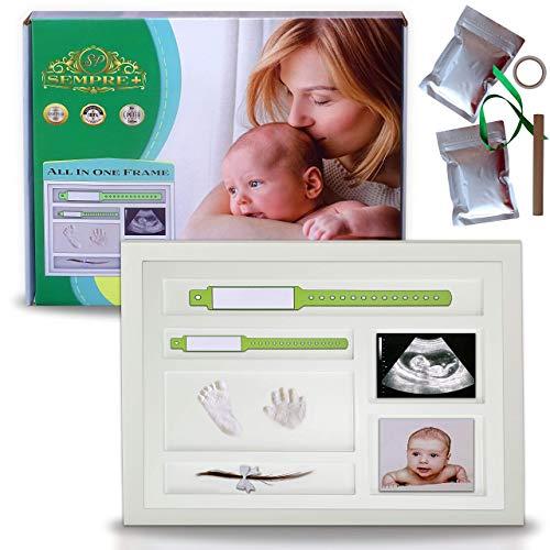 cornice impronte neonato | impronte neonato | kit impronte neonato mani e piedi | regali neonati | idee regalo nascita e battesimo | baby shower | culla neonato | neonata femmina | 33.5x28.5cm