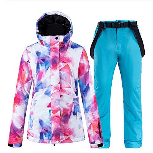 Skipak dames snowboard kleding winter waterdicht verdikt kostuum outdoor ski-jas + sneeuw slabbetjes broek X-Large