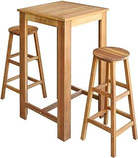 Tidyard Mesa y 2 Sillas de Bar Cocina,Mesa Alta de Bar y Taburetes para Hogares Oficinas Bares y Cafeterías,Estilo Rústico,Madera de Acacia Maciza