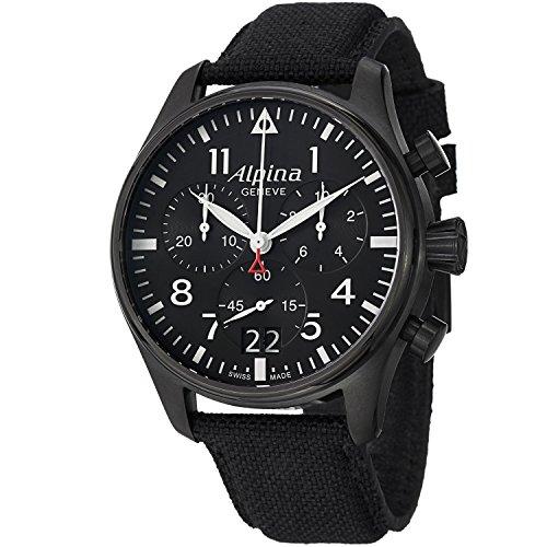 Alpina herenhorloge chronograaf kwarts horloge met lederen armband AL-372B4FBS6