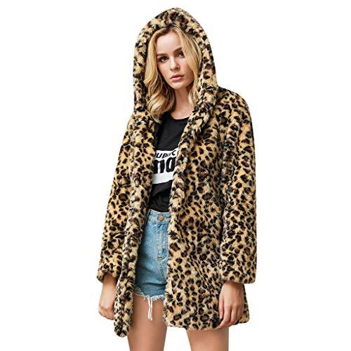 SALUCIA Damen Pelzmantel Leopard/Tiger Muster Warme Kunstpelz Mantel mit Kapuze Flauschige Fellmantel Nerzmantel Parka Jacke Wintermantel