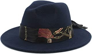 SHENTIANWEI Winter Wool Fedora Hat for Men Women Church Jazz Hat Wide Brim Cloche Hat Fascinator Size 56-58CM