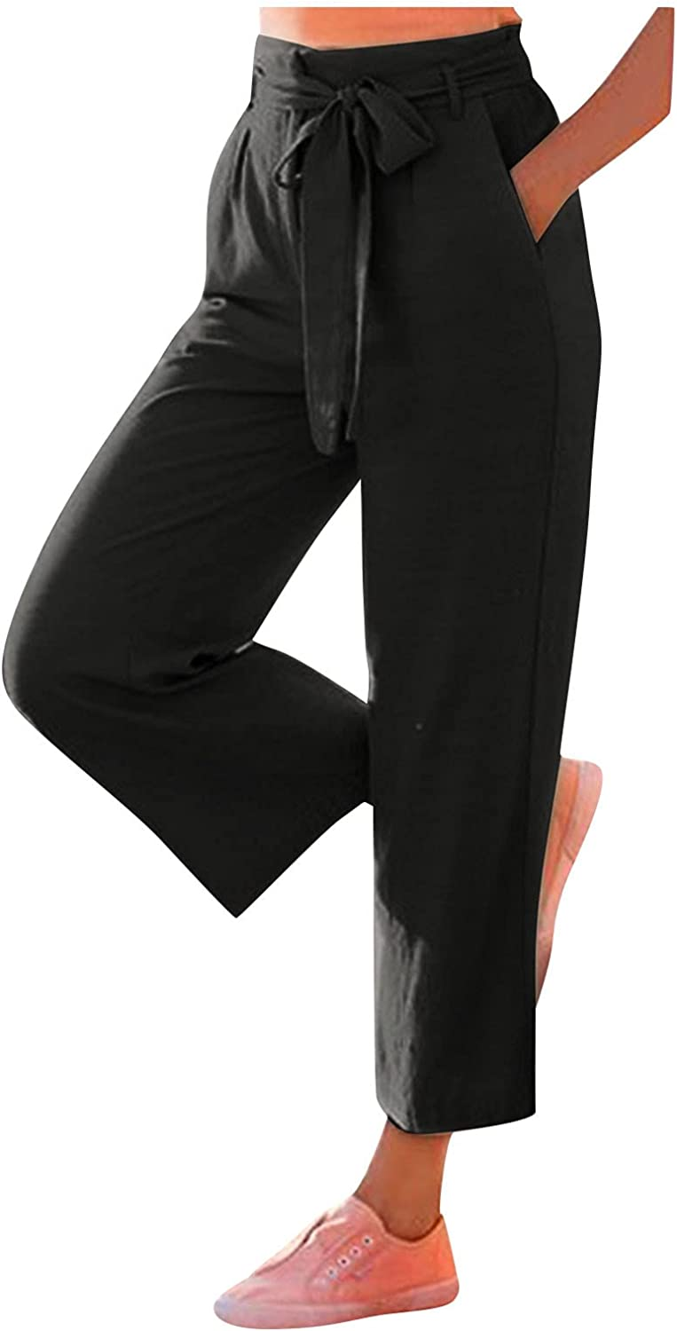 YUNDAN Women's Paper Bag Pants Elastic High Waist Loose Fit Bootcut Trousers Office Work Casual Cropped Pants with Belt