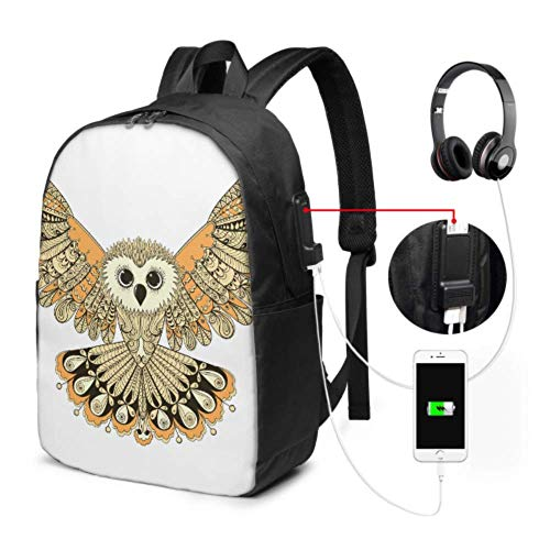 Mochila Escolar Laptop Cartoon Beautiful Indian Owl Animal Girls Mochilas con Puerto...