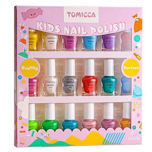 TOMICCA Kit de Manucure à l'Eau pour Enfants,Lot de 18 vernis à ongles avec 18 couleurs,Pelable,Goût léger de fruit , non toxique et inoffensif