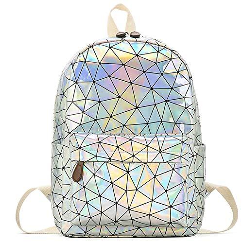 shenlanyu Mochila para mujer geométrica holográfica mochila de viaje hombres mujeres mochilas PVC hombro estudiante escuela mochila casual plata