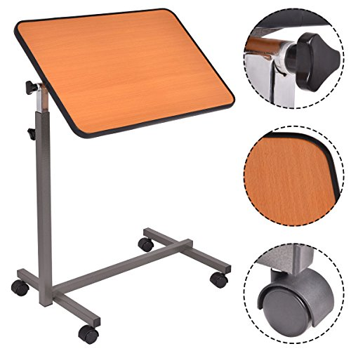 Table Rolling Hospital Overbed Tray Bed Laptop Desk Food Adjustable Over with Top Tilting