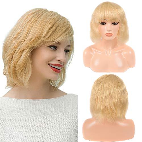 NIUDINNG Blonde 613 Bob Wig Remy Echthaar Perücke Bob Wig Body Wave 100% Real Human Hair None Lace Wig Glueless Körperwelle Perücke Echte Haare Kurz Mode 12 zoll