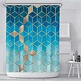 Verngo Marmor-Duschvorhang, blauer Ombré-Stil, wasserdicht, bunt, geometrisches Gitter, Baddekoration, 183 cm, Farbe 5