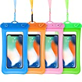 <span class='highlight'><span class='highlight'>Frienda</span></span> 4 Piece Floatable Waterproof Phone Pouch Floating Waterproof Cell Phone Case Universal Cellphone Dry Bag Case with Lanyard for Smartphone up to 6.5 Inch (Blue, Rose Red, Green, Orange)