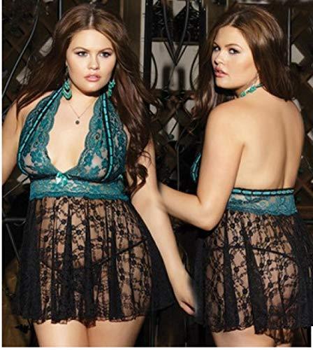 Erotische Kostüme für Frauen Frauen sexy Dessous Dicke Frau Plus Größe hängenden Hals sexy Nachthemd Frauen erotische Dessous Spitze transparente Pyjamas-Black_XL
