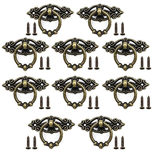 10 Piezas Gabinete Cajón Anillo Tirador, Tiradores de Anilla para Armario, Tiradores Vintage, Aleación de Zinc, con 20 Tornillos, para Gabinete Cajón Antiguo Tocador Muebles Retro (Bronce)