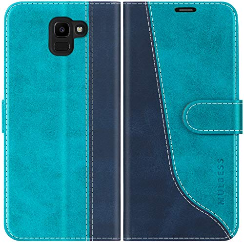 Mulbess Custodia per Samsung J6 2018, Cover Samsung J6 2018 Libro, Custodia Samsung Galaxy J6 2018 Pelle, Flip Cover per Samsung Galaxy J6 Duos 2018 Portafoglio, Blu Mint