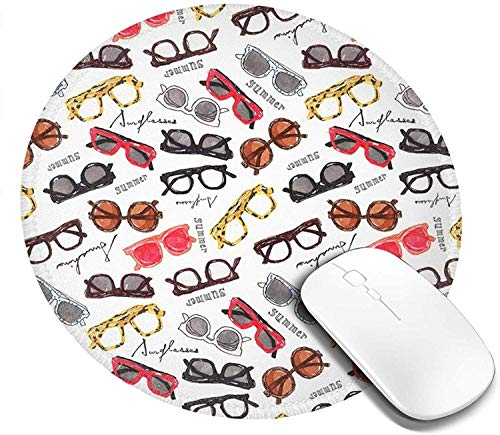 Retro Eyeglasses Mouse Pad Round Gaming Mousepad Personalized Art Print Mouse Mat for Computer Laptop & Pc for Office Desk
