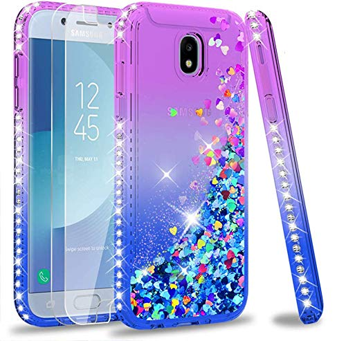 LeYi Hülle Galaxy J5 2017 Glitzer Handyhülle mit Panzerglas Schutzfolie(2 Stück),Cover Diamond Rhinestone Schutzhülle für Case Samsung J5 2017 Pro Duos Handy Hüllen ZX Gradient Purple Blue
