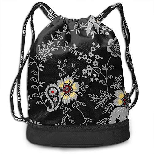 Bolsas de Gimnasia, Drawstring Backpack Grey Retro Flower Print Travel Sport Yoga Gym Sack Bag Outdoor Bundle Backpack Laptop Bag Beach Rucksack for Men/Women