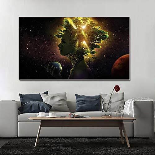 N / A Rahmenlose Malerei Mädchen Gesicht Baum natürliche Erde Wandkunst Leinwand Bild Poster Wandbild Dekoration WohnzimmerZGQ7657 20x35cm