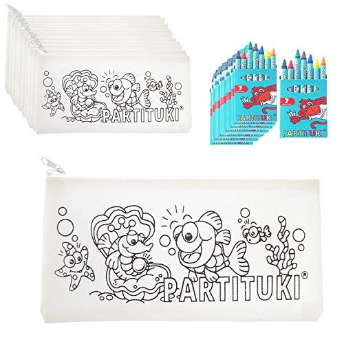 Partituki Gadget Compleanno Bambini 10 Astucci e 10 Set di 7 Pastelli a Cera Colorati. Regalini Pignatta Compleanno Bambini. con Certificato CE di Non Tossicità