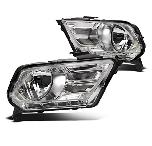 ZMAUTOPARTS Ford Mustang 2Rd Base/GT Crystal Headlights Lamp Chrome Left+Right Pair