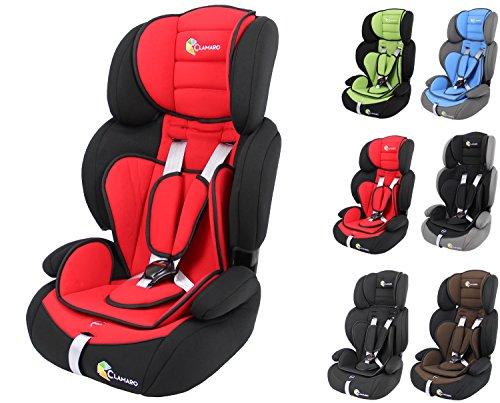 Clamaro 'Guardian' Kinderautositz 9-36 kg mitwachsend, Auto Kindersitz für Kinder von 1-12 Jahre, Gruppe 1/2/3, ECE R44/04, Farbe: Schwarz Rot