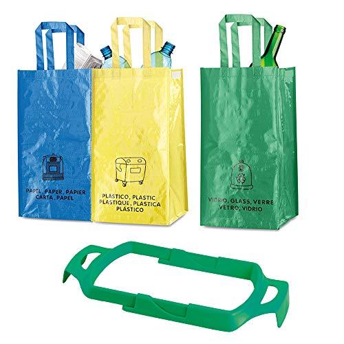 Natuiahan 3 Bolsas de Reciclaje Duraderas Robustas, Prácticas y Fáciles de Limpiar y Transportar. Incluye un Soporte Extensible y Adaptable para Bolsas de Basura