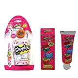 Shopkins Toothbrush, Toothbrush Cap, Rinsing Cup & Shopkins Toothpaste Bubble Gum Flavor Dental Kit