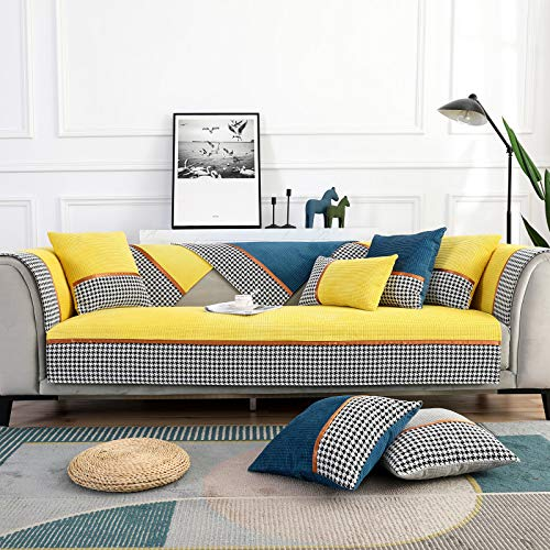 SJHP Cojín de sofá cojín de Pata de Gallo de Felpa de otoño e Invierno, Funda de cojín de sofá Antideslizante Funda de Toalla de Respaldo yellow-27.6'*59'