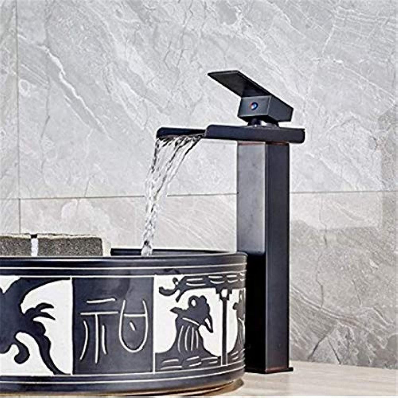 Luxury Waterfall Faucet Deck Bathroom Sink Faucet Single Lever Brass Black Bronze wash Basin Faucet