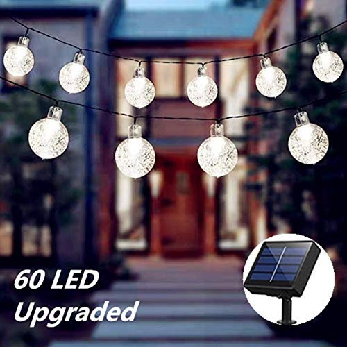 Solar String Lights Garden, 60 LED 39ft Outdoor Waterproof Solar Powered Crystal Ball Fairy Lights 8 Modes Outdoor Starry Lights for Garden Yard Home Party Wedding Decoration (Cool White)