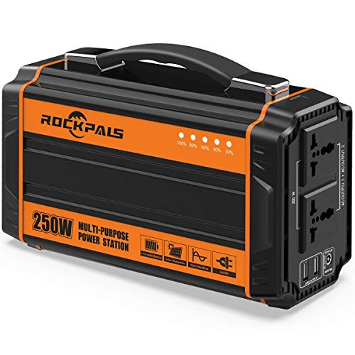 Rockpals 250-Watt Portable Generator Rechargeable Lithium Battery Pack Solar Generator with 110V AC...