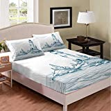 Erosebridal Lighthouse Fitted Sheet Twin Size Nautical Bedding Set Sea Wave Surfing Seagull Sea Landscape Bed Set Mountain Leaves Branches Summer Bed Cover with Deep Pocket 2 Pcs