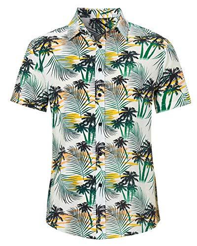 AIDEAONE Herren Knopf Kokosnussbaum Hemd Strandkleidung Kurzarm Urlaub Hemd Hawaii Weiß