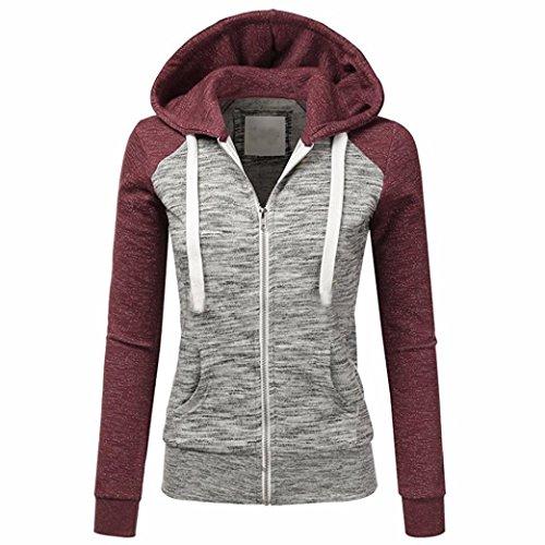 VEMOW Frauen Herbst Casual Täglichen Langarm Dünne Zip Kontrast Sport Im Freien Hood Hoodies Jacke Mantel(Rot, 44 DE/XL CN)
