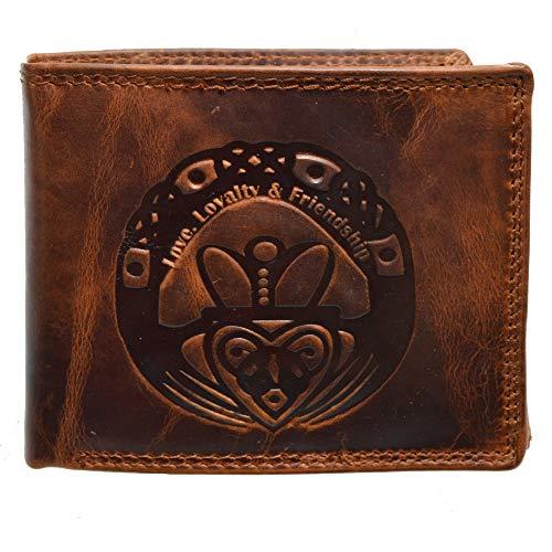 Herrengeldbörse mit Druck Claddagh irisches Symbol Love, Loyalty, Friendship mit RFID Schutz Braun