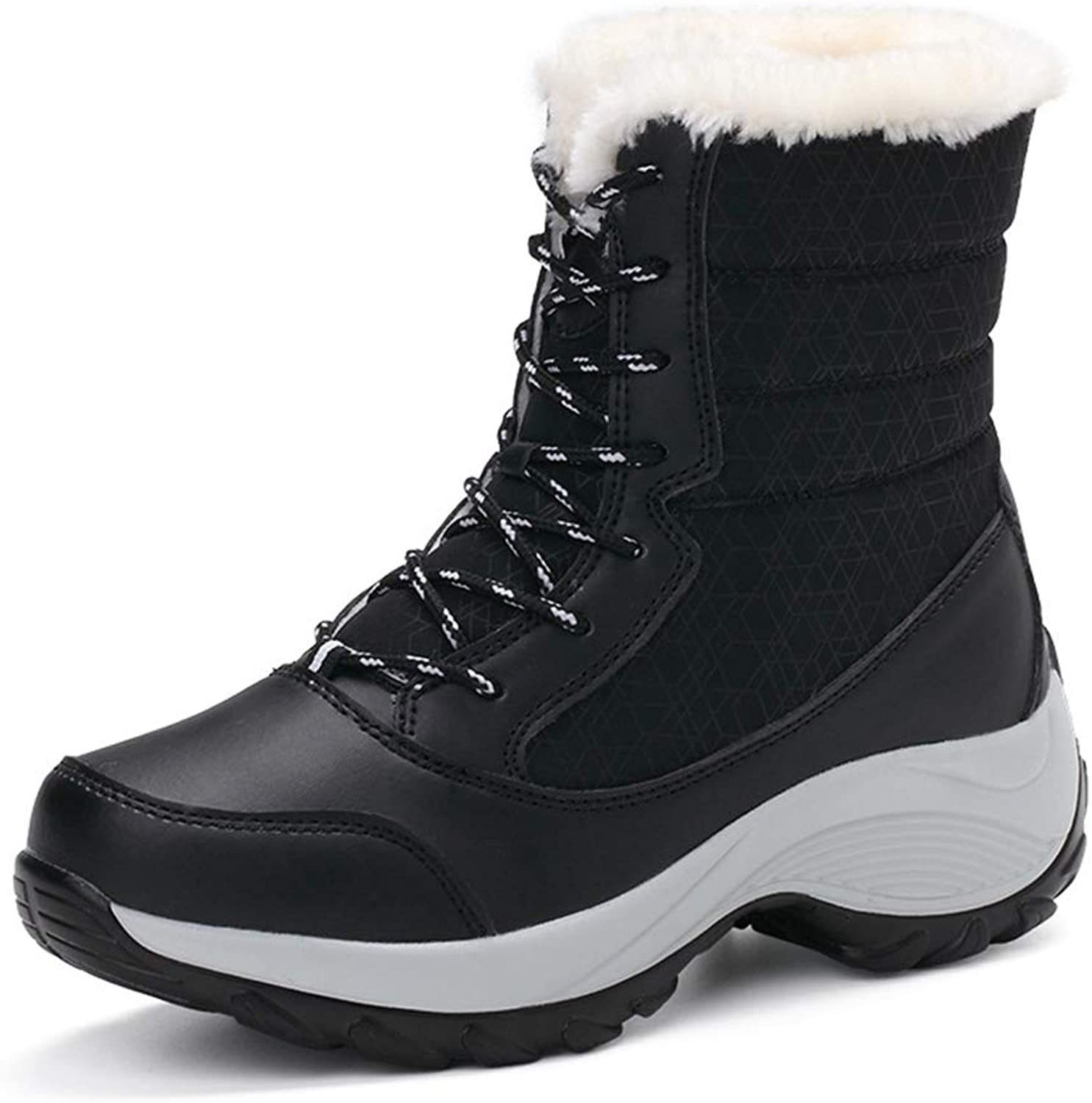 GIY Women Waterproof Snow Boots Warm Fur Insulated Lace up High Top Outdoor Wedges Platform Sneaker Mid Calf Boots