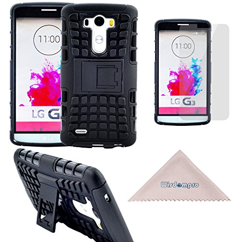 LG G3 Case, Rugged Heavy Duty Shockproof Dual Layers Hard Soft Hybrid Protective Armor Kickstand Case by Wisdompro for LG G3 - Black (Not fit LG G3 Vigor)
