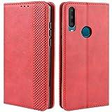 HualuBro Handyhülle für Alcatel 3X 2019 Hülle, Retro Leder Brieftasche Tasche Schutzhülle Handytasche LederHülle Flip Hülle Cover für Alcatel 3X 2019 - Rot